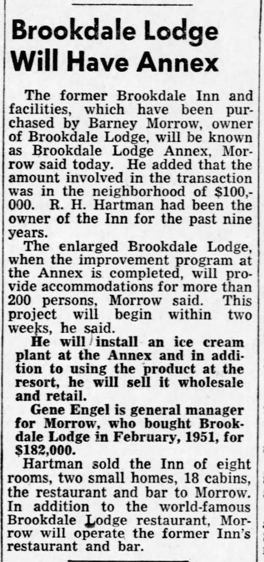 Brookdale Inn become Annex to Brookdale Lodge 12 Feb 1952 -