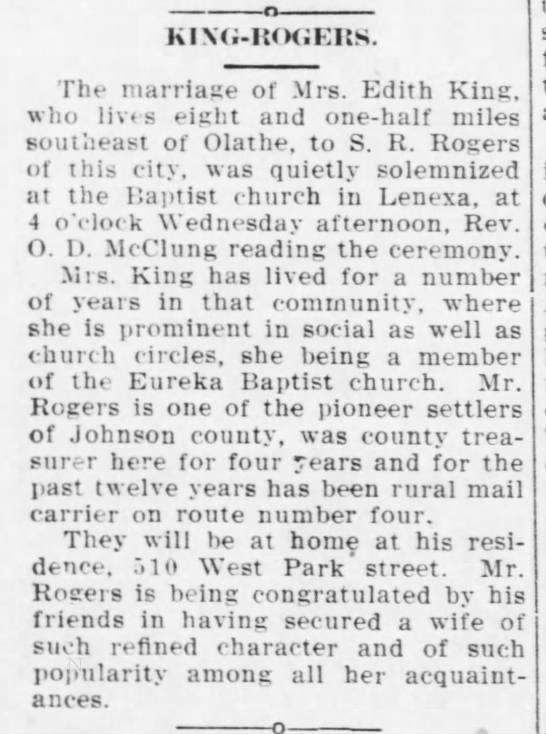 Rogers Edith King 6 Nov 1913 Olathe Mirror -