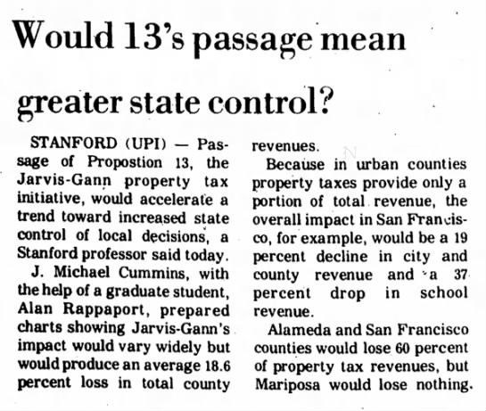 """Prop 13 losses """"Would 13's Passafe mean greater state control? -"""