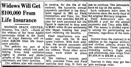 Apollo 1 (AS-204) widows receive insurance payout due to contract with publishing firms. -
