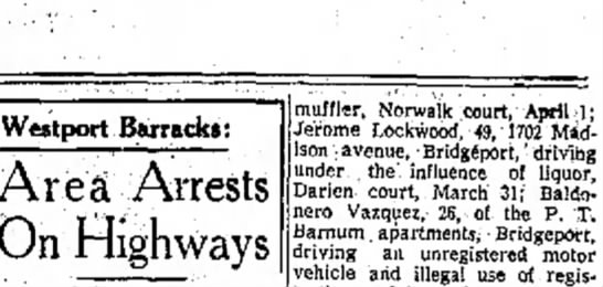 DUI Arrest from 28 MARCH 1960, Jerome Lockwood 49 of 1702 Madison