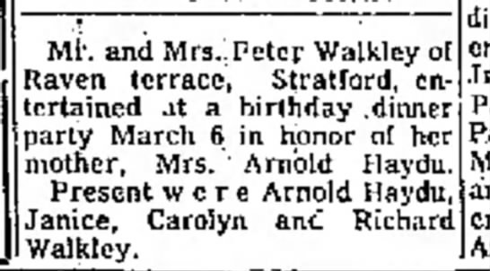 - and Mrs. Peter Walkley ol terrace, Stratford,...