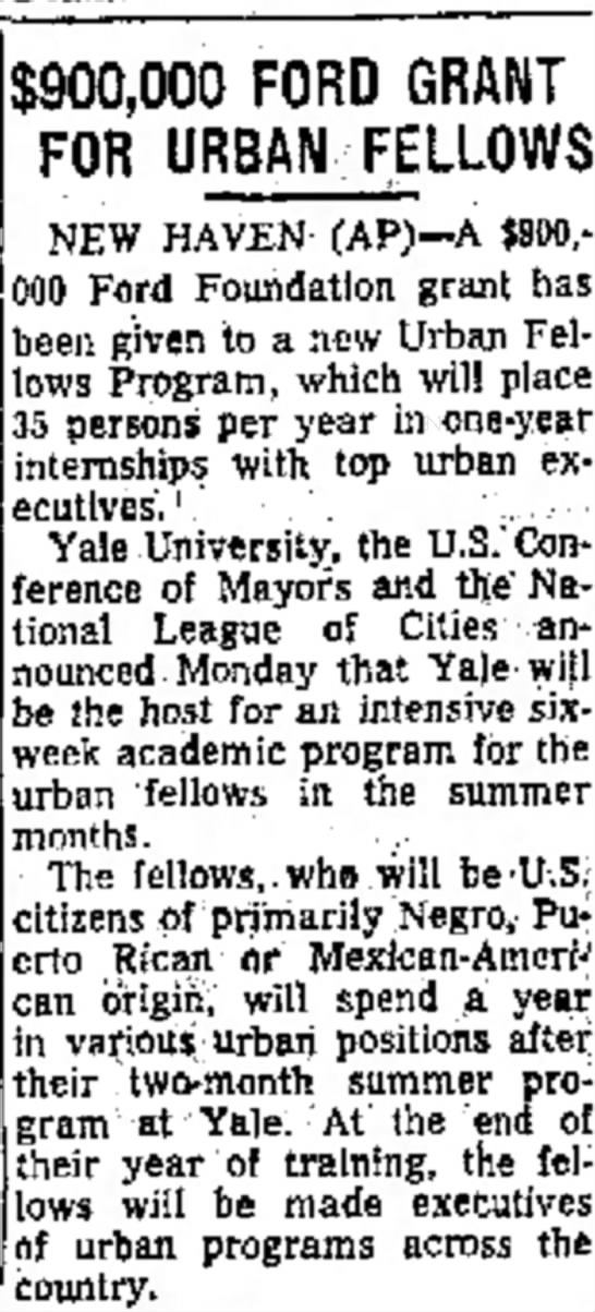 Ford Foundation grant for beginning of NUF program - Newspapers com