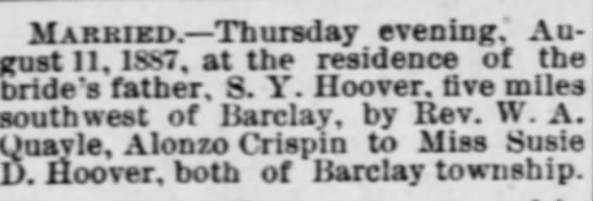 MARRIAGE OF ALONZO CRISPIN to SUSIE D HOOVER -