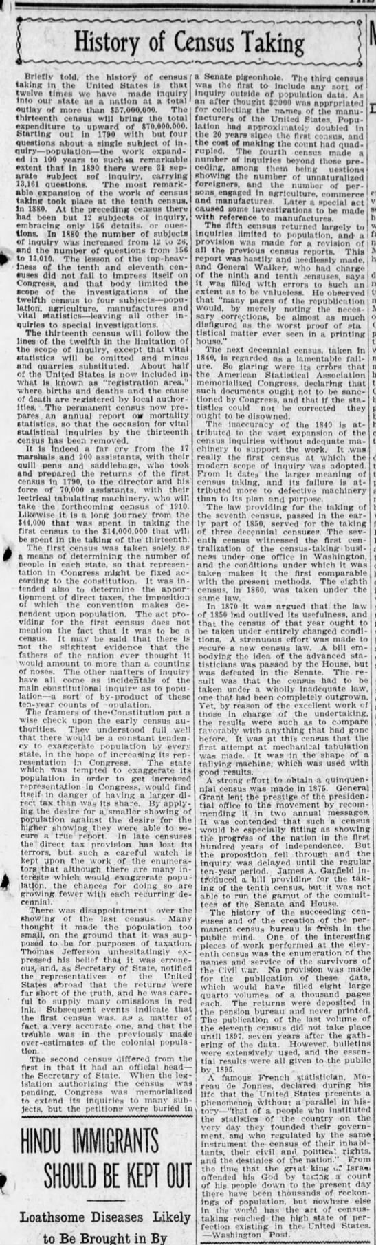 History of Census Taking - 1910 -