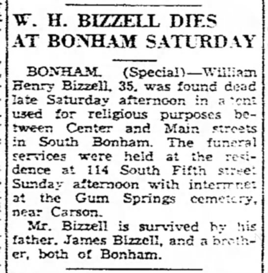 will h bizzell death by tent -