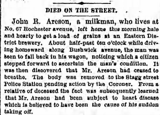 John R Areson died  20 May 1880 -