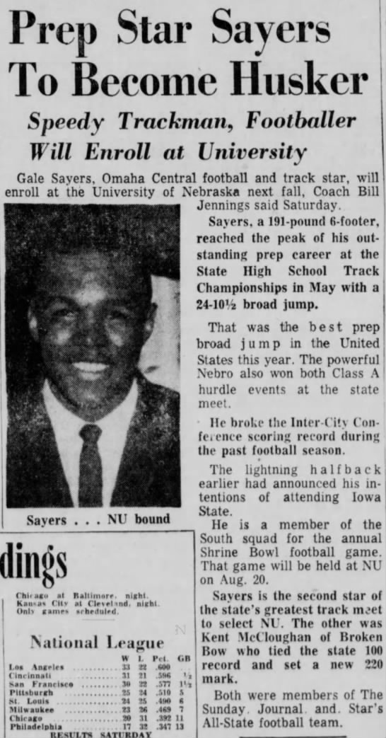 1961 Gale Sayers says he'll attend Nebraska -