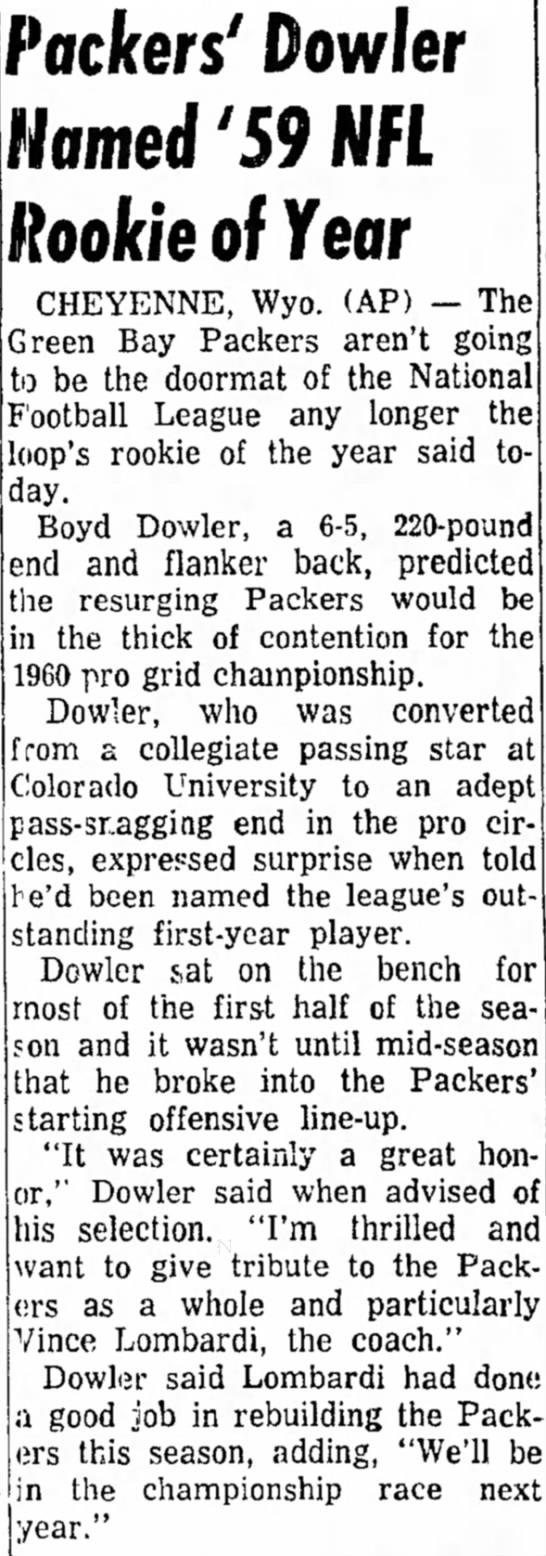 Packers' Dowler Named '59 NFL Rookie of Year -