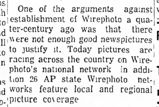 One argument against Wirephoto -