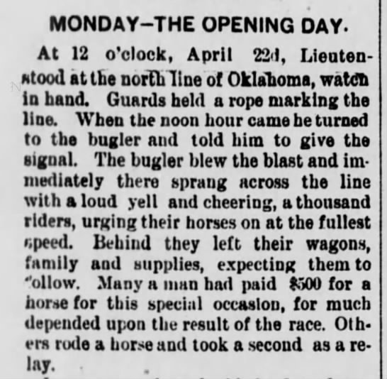 Description of the Oklahoma Land Rush opening day -