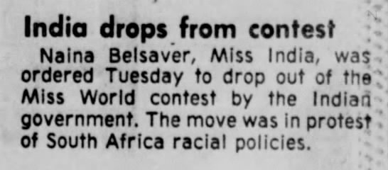 17_November_1976_The_Lincoln_Star_Lincoln, Nebraska - India drops from contest Naina Belsav'er, Miss...