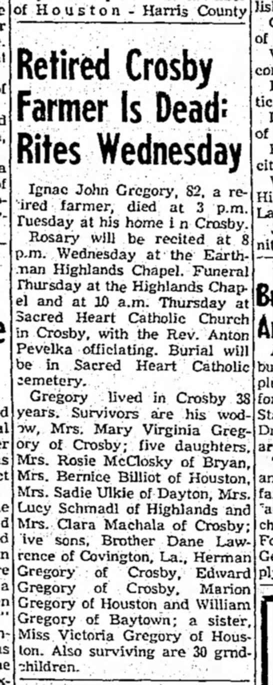 Ignac John Gregory Obituary 1965 -