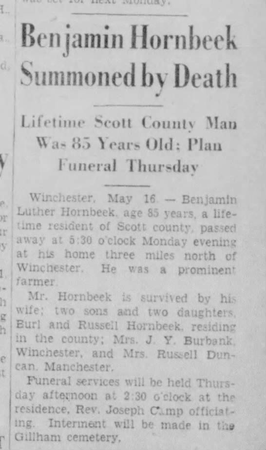Mary Hornbeek mentioned in fathers Obit 1948 Winchester Il. -