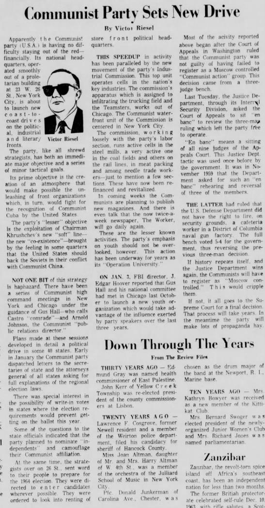 Jan 1964, Riesel - (òoiiiiiiimist Partv Sets New Drive Victor...