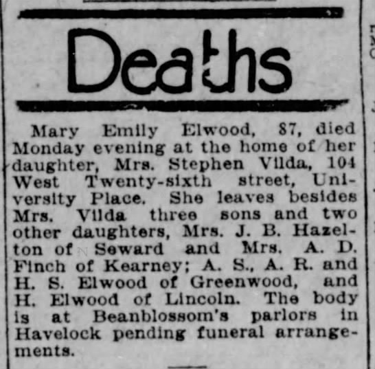Mary Emily Elwood, age 87 death in 1925 Nebraska; daughter last name Vilda -