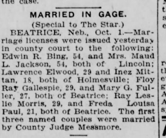 Marriage of Lawrence Elwood to Inez Mittan of Holmesville NB  1925 -