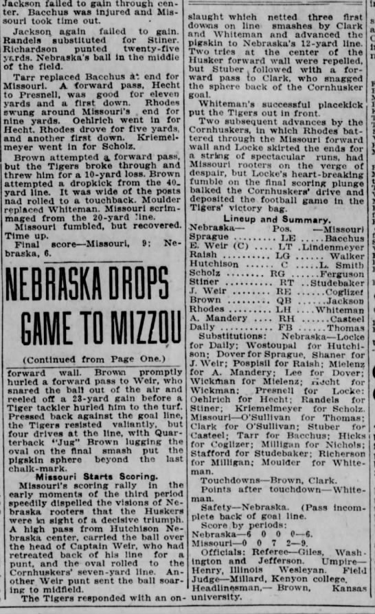 1925 Missouri-Nebraska football, part 2 -