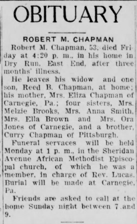 Robert M Chapman Death Notice (The Evening Review, East Liverpool, Ohio 08-13-1932, pg 9) -