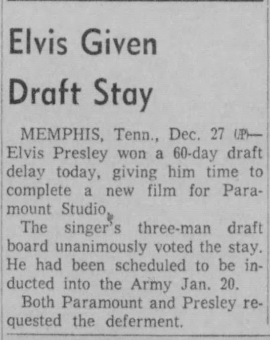 Elvis given draft deferment to finish film -