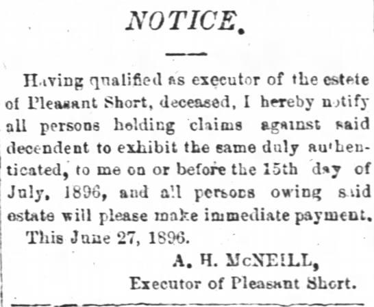Pleasant Short Estate Notice -
