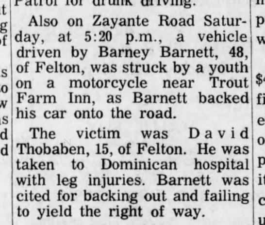 David Thobaben 1 Nov 1971 Accident -