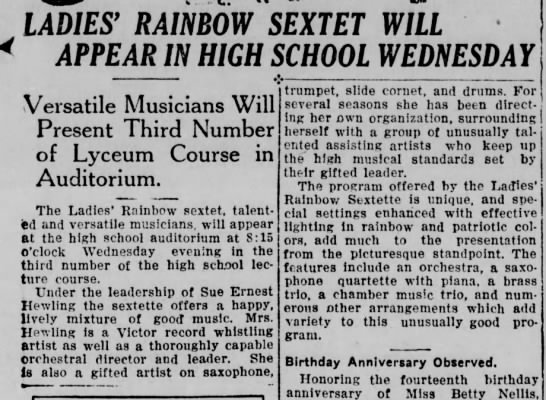Ladies' Rainbow Sextet (1928) -