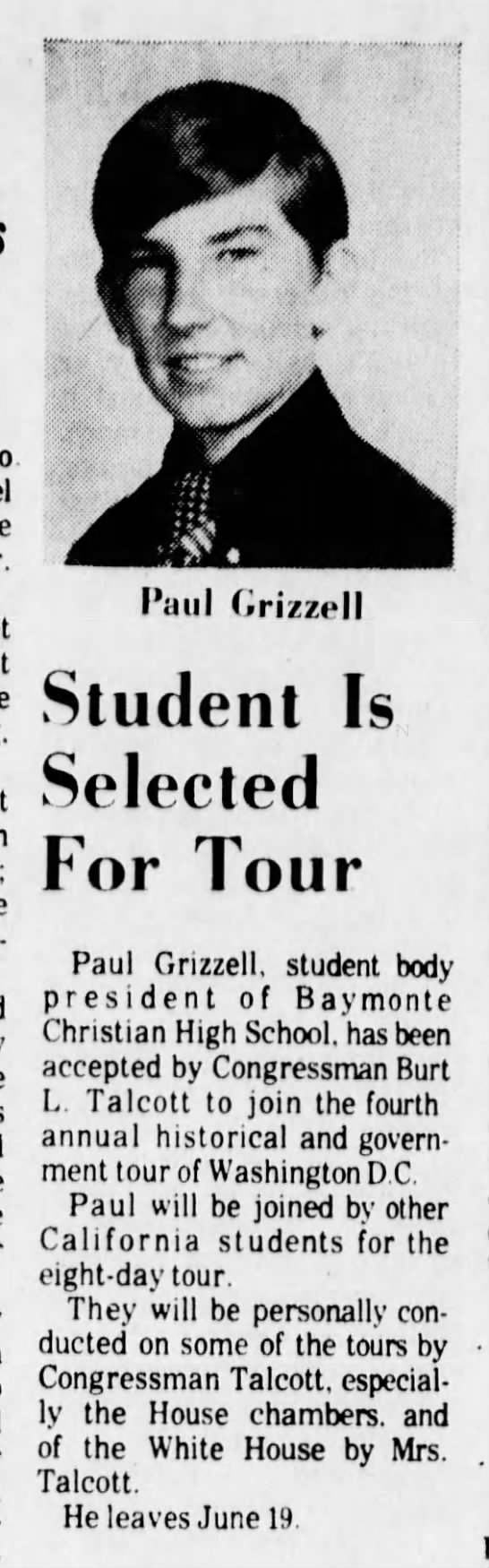 Paul Grizzell 10 Jun 1973 Baymonte -