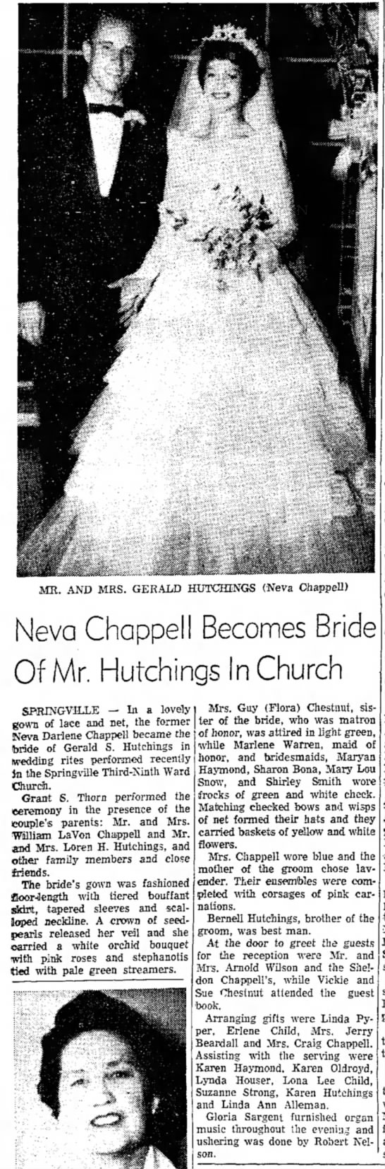 Neva Chappell Gerald S Hutchings wedding published 19 May 1960 - MR. AND MRS. GERAI/D HUTOflNGS (Neva Chappell)...
