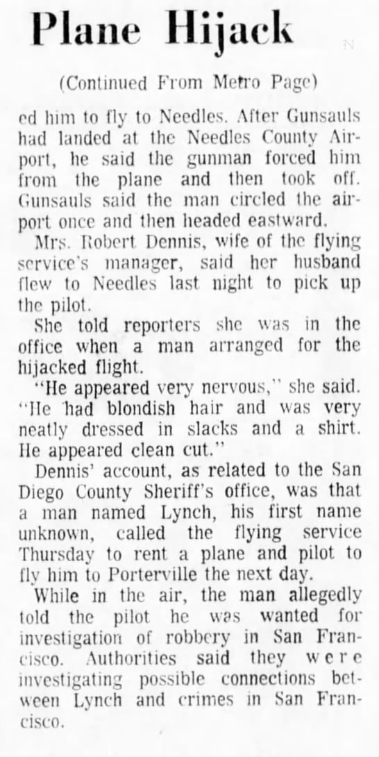 jay William Gunsauls part ll - Plane Hijack (Continued From Metro Page) ed him...