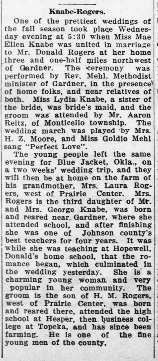 Rogers Knabe wedding 8 Nov 1917 The Olathe Mirror -