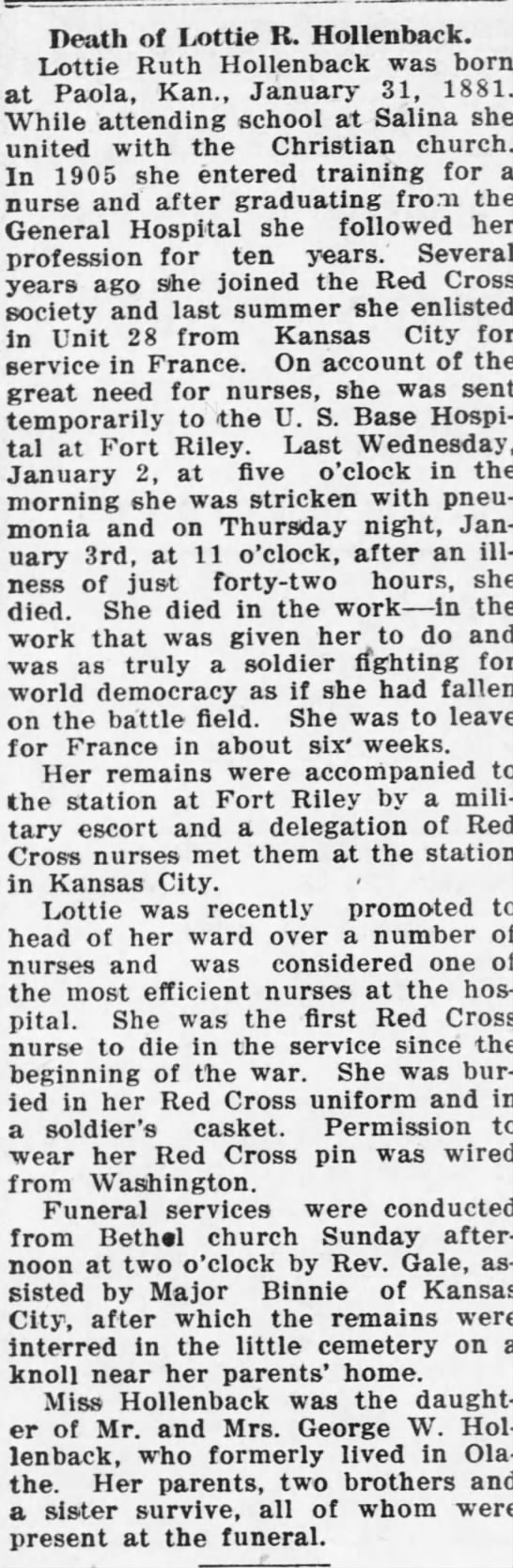 Obituary of Lottie R. Hollenback, 10 January 1918, The Olathe Mirror, Olathe, Kansas -