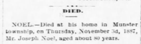 Noel Joseph Obit The Cambria Freeman Ebensburg PA Nov 11, 1887 -