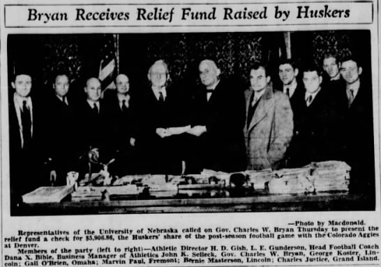 1932 proceeds from charity game -