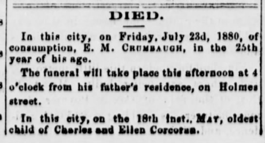 Crumbaugh Frankfort Weekly Roundabout 24 July 1880 -