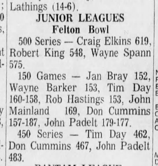 SLVHS 3 Feb 1971 Bowling -