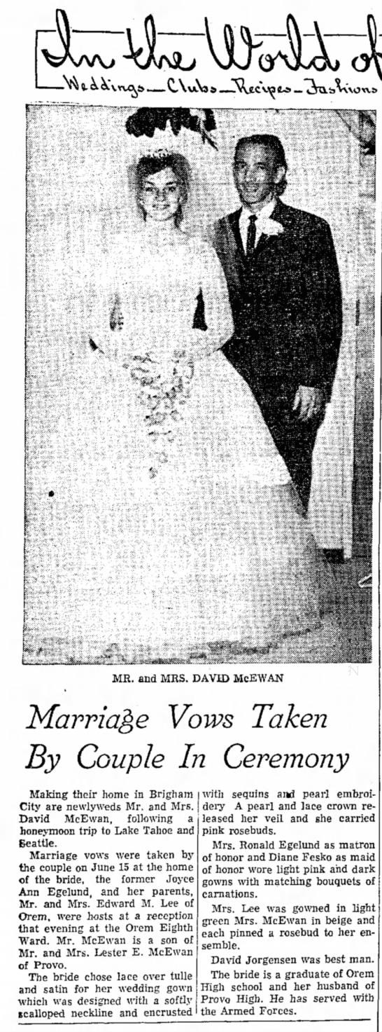 "Pat's Bro. David McEwan & Joyce Egelund Wedding - v\ \ \. o \ v. ""Kl * HL, s ^* MR. and MRS...."