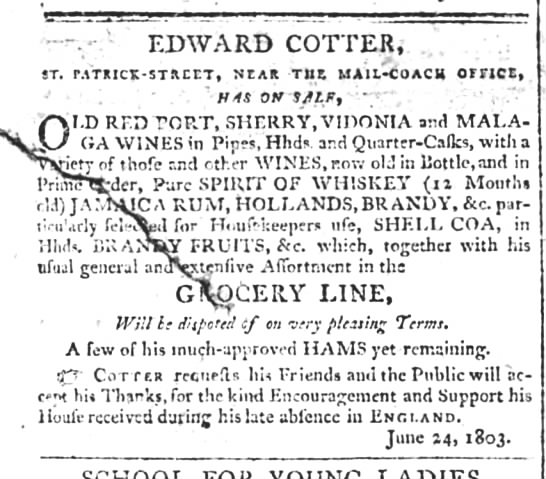 Edward Cotter Cork 1803 -