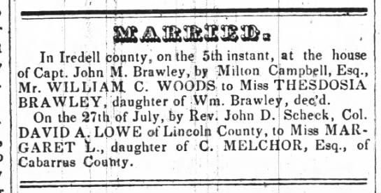 "Woods, William C. and Brawley, Thesdosia ---""Married"" -"