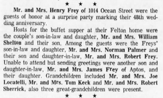 Anniversary 48 - Mr Mrs Henry Frey -