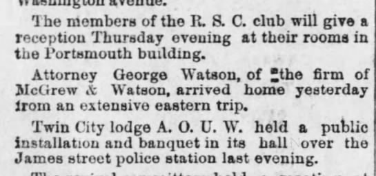 1893 01 11 KC Daily Gazette p3 George  Watson back from NY -