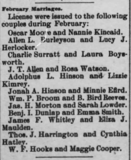 Marriage of W. F. Hooks and Maggie Murray Cooper - hbnur Mantes. License were issued to the...