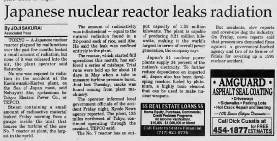 Kashiwazaki nuclear power plant malfunctions and emissions, Japan 1997 -