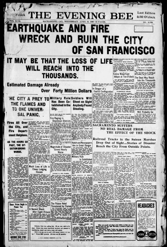 The Daily Bee - April 18, 1906: The Great San Francisco Earthquake -