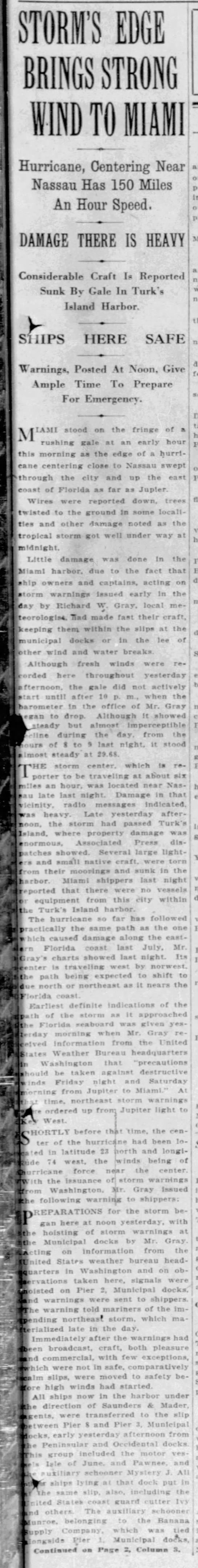 First storm warnings issued for approaching hurricane - September 18, 1926 -