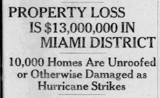 Damage from Miami Hurricane of 1926 -