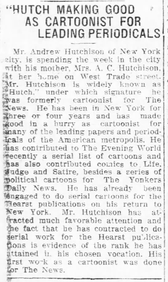 """- """"HUTCH MAKING GOOD ' AS CARTOONIST FOR LEADING..."""