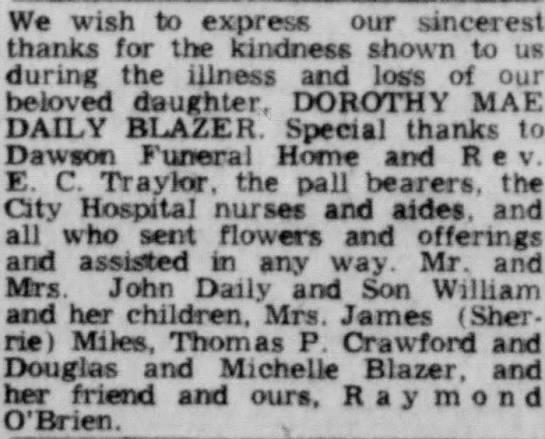 Dorothy Blazer card of thanks 1969 -