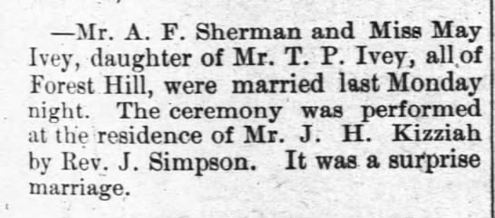 May Ivey marries A  F  Sherman