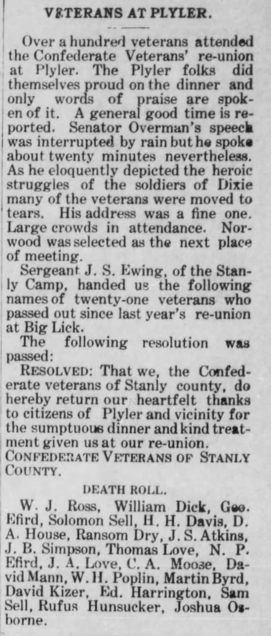 1907 Death Roll for Confederate Vets -